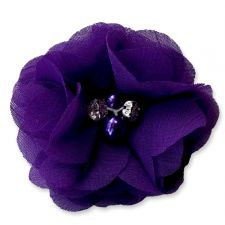 5cm Pearl Diamante DARK PURPLE Fabric Flower Applique